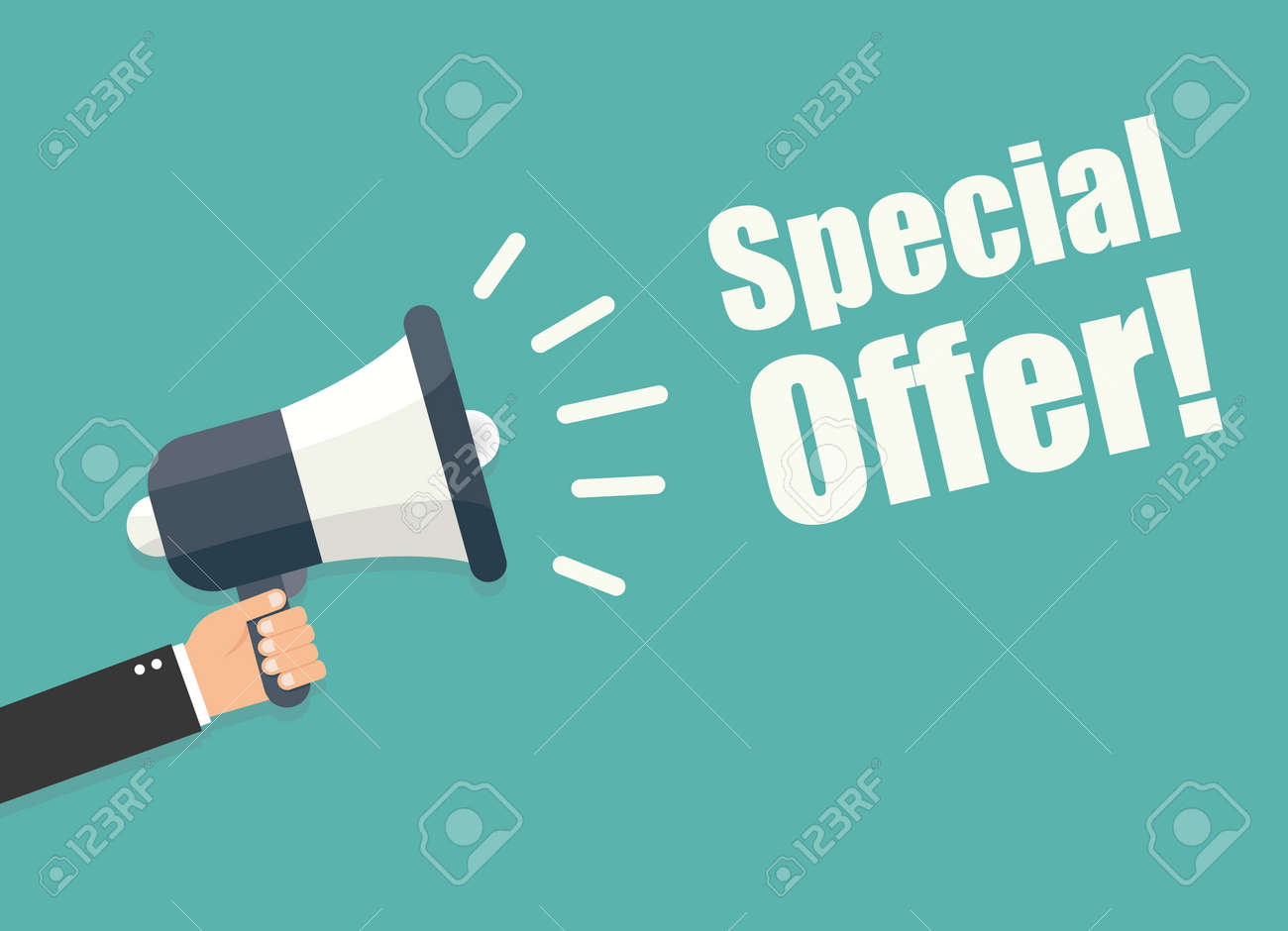 Hand holding megaphone - Special offer - 50416548