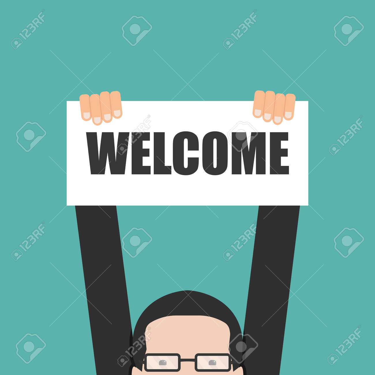Businessman holding welcome banner - 50416597