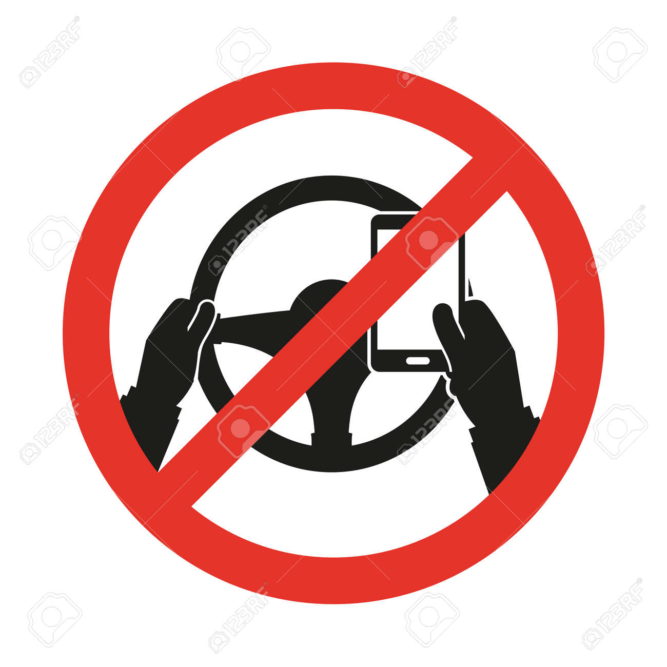 No Cell Phone While Driving Vector Sign Royalty Free Cliparts