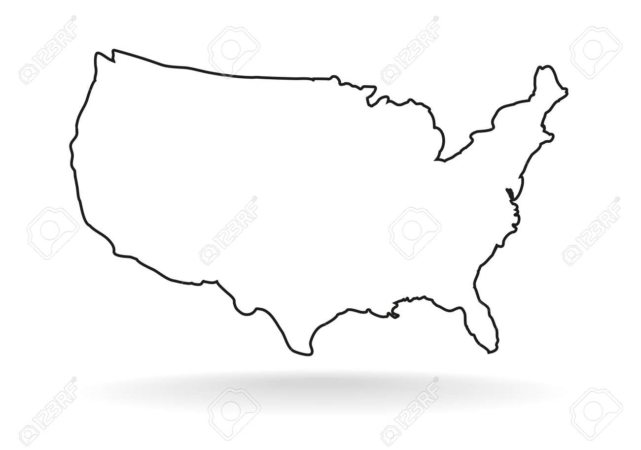 USA map icon, outline style. United states outline isolated on white background. USA drawing vector illustration - 96798308