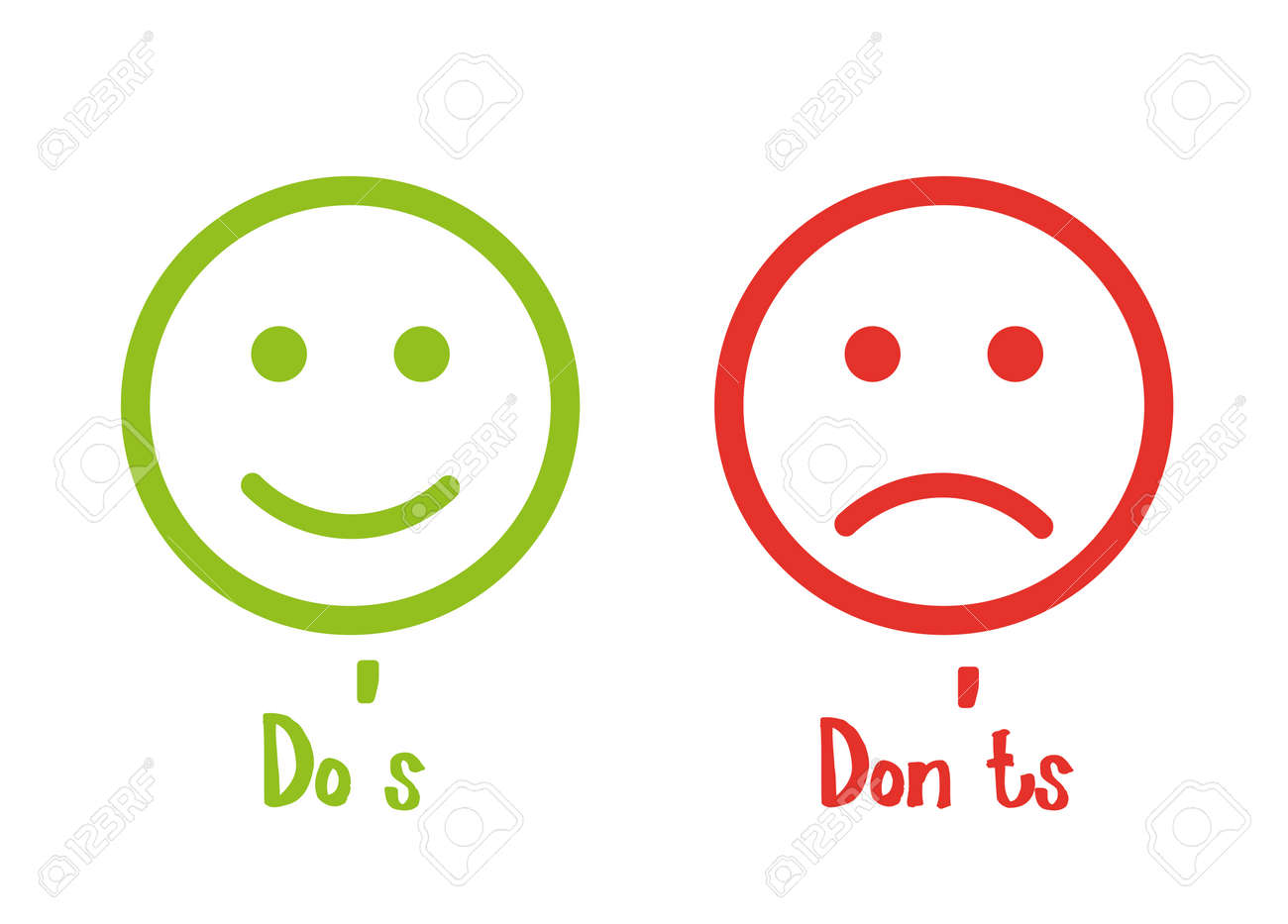 Do's don'ts signs smile - 115927759