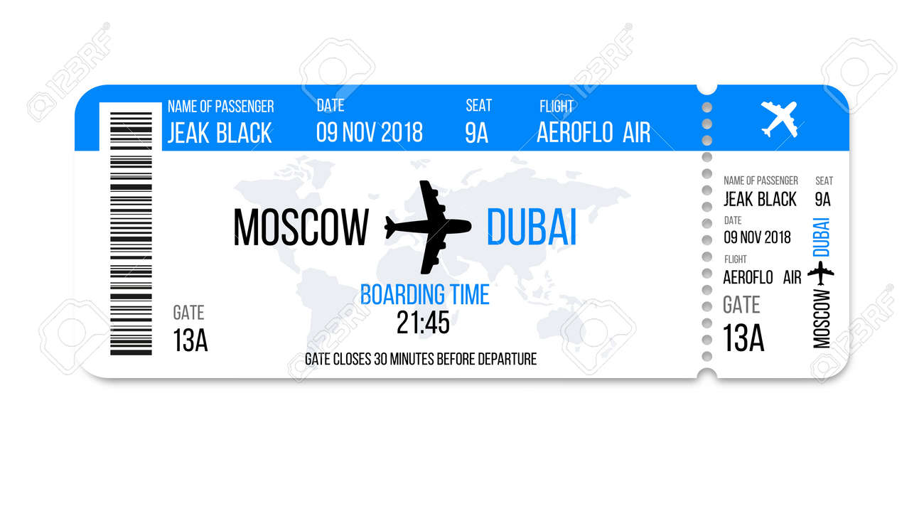 Realistic Airline Ticket Design With Passenger Name. Vector Illustration  Royalty Free Cliparts, Vectors, And Stock Illustration. Image 115927820.