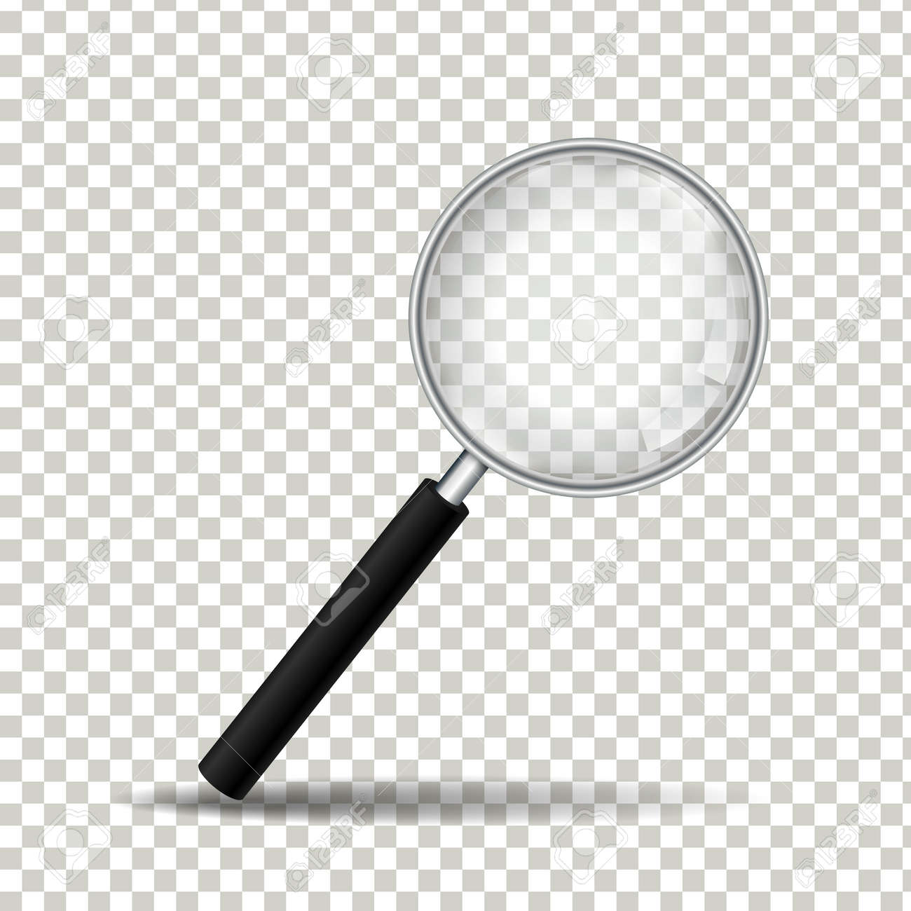 Realistic magnifying glass on transparent background, Vector Illustration - 123433926