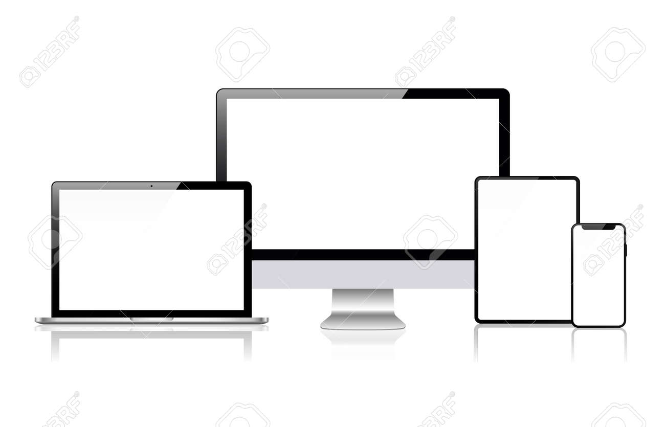 Realistic vector. Device set: monitor laptop, tablet and phone template - 135840755
