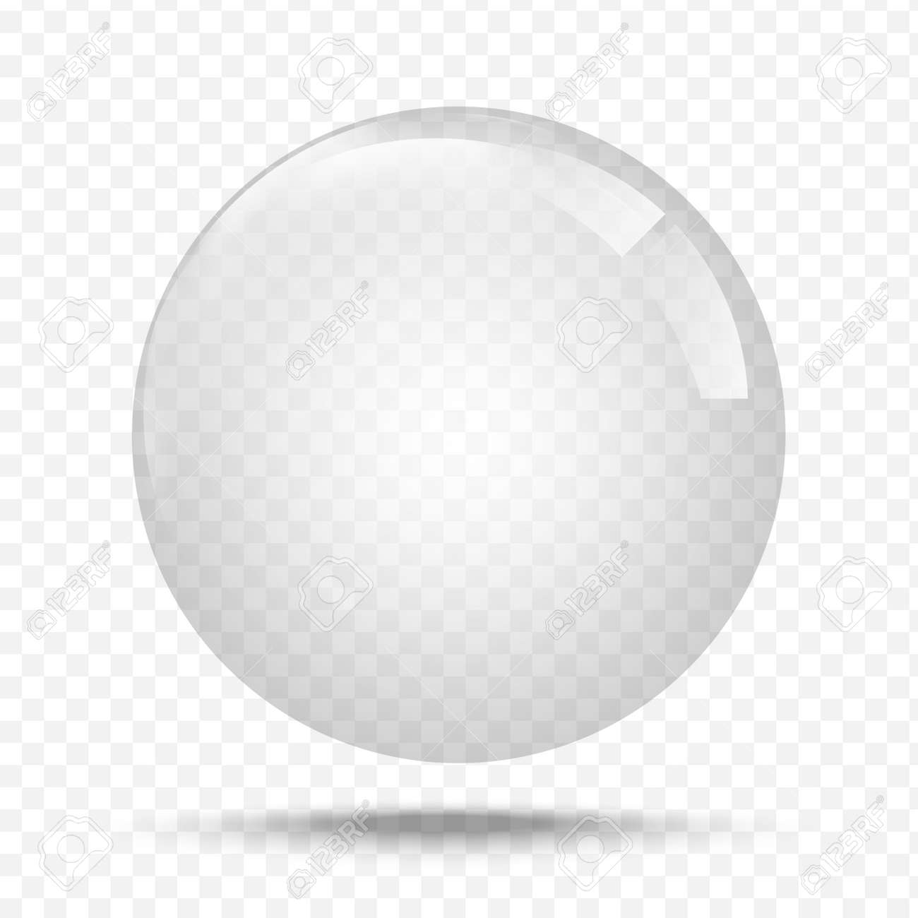 Transparent glas. White pearl, water soap bubble, shiny glossy orb realistic design elements - 137218225
