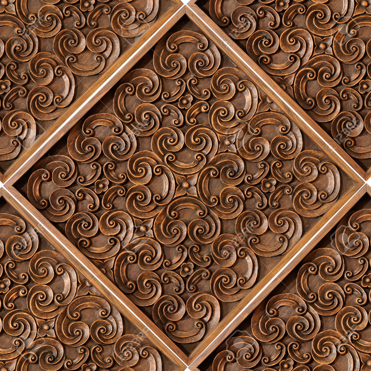 Wood thai pattern handmade wood carvings chiangmai thailand stock