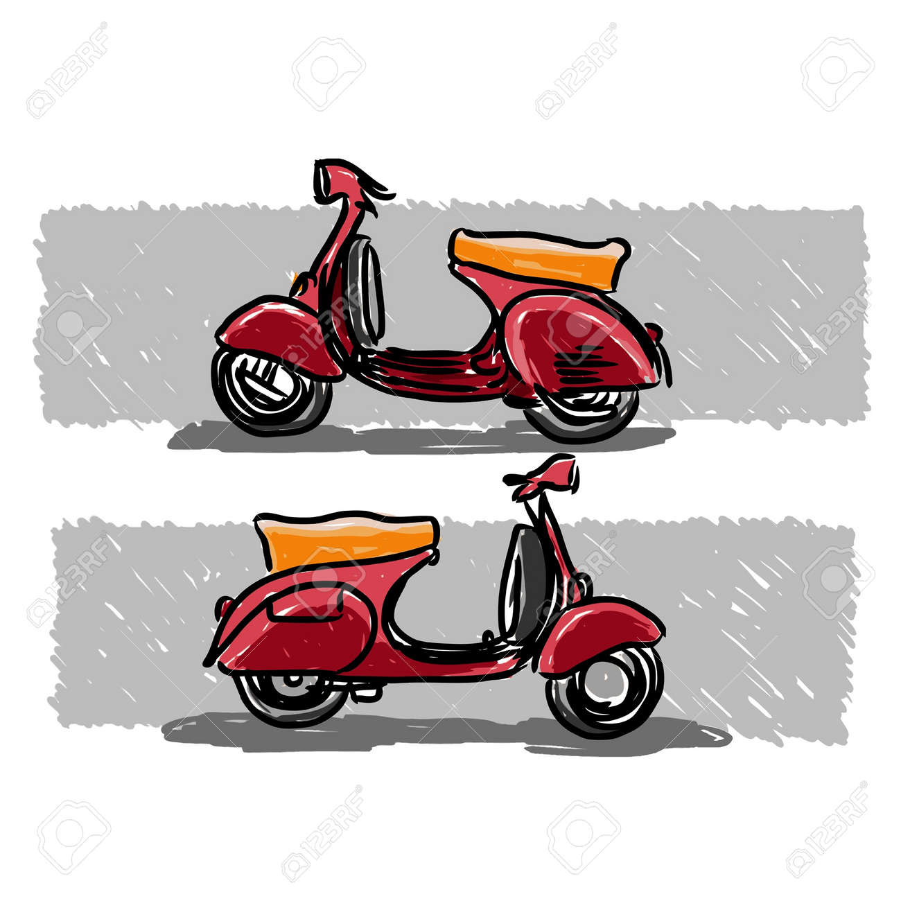 Scooter classic style, illustration. Stock Vector - 14040004