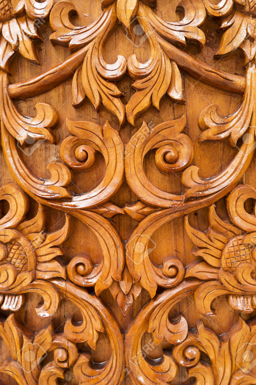 Wood thai pattern handmade wood carvings stock photo picture and