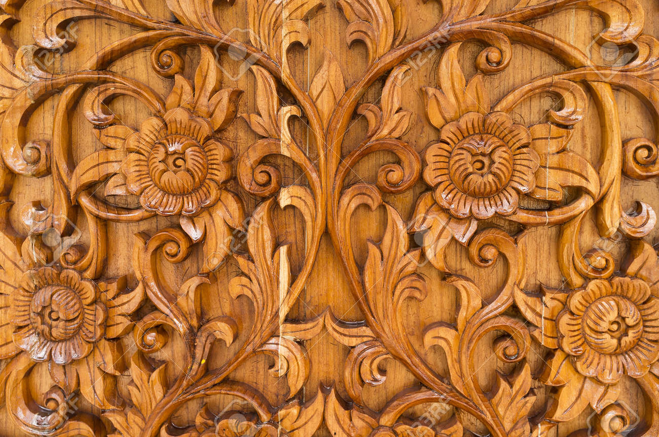 Wood thai pattern handmade wood carvings. stock photo picture and