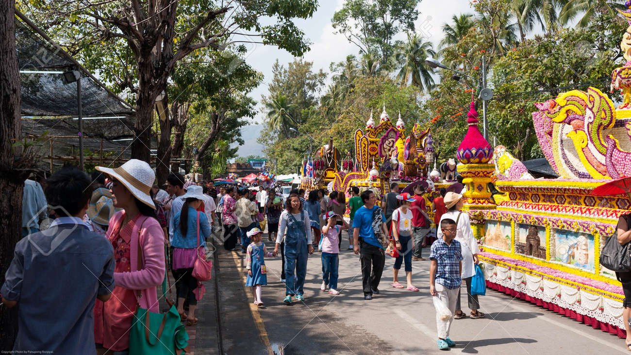 CHIANG MAI,THAILAND-FEB.3 : 37th Anniversary Chiang Mai Flower Festival, People are interested in coming to visit the annual Chiang Mai flower festival. on Feb.3, 2013 in Chiang Mai,Thailand. Stock Photo - 18883853