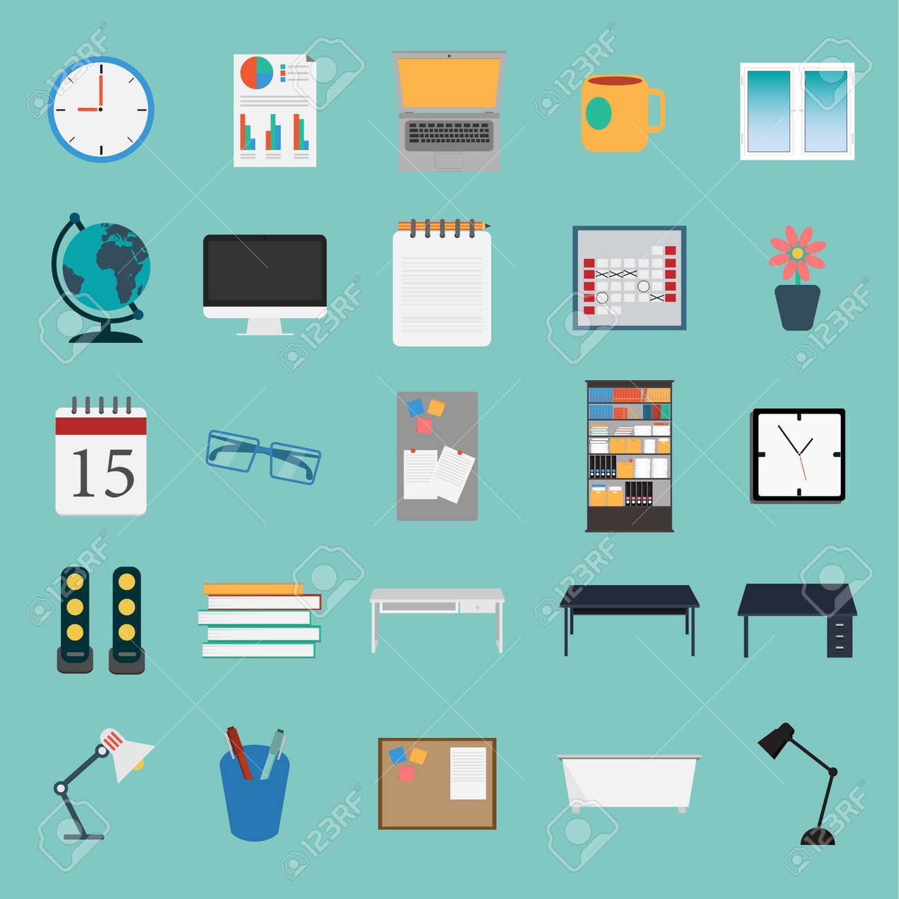 Vector Of Office Stuff Icon Set Royalty Free Cliparts, Vectors ...