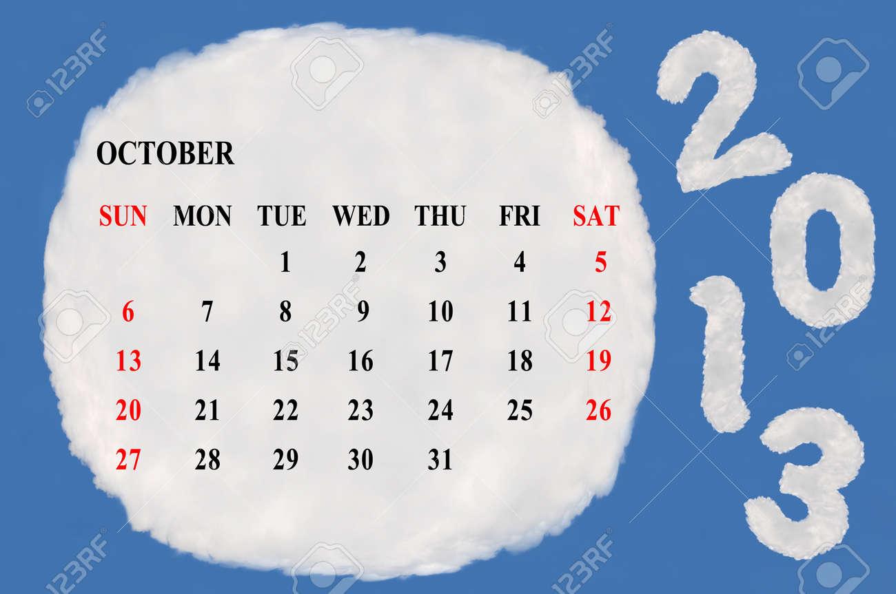2013 calendar  made form cloud  with blue sky background Stock Photo - 15830859