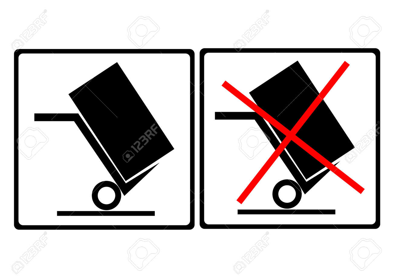 warning sign on the box ,move this side,do not move this side Stock Vector - 15830808