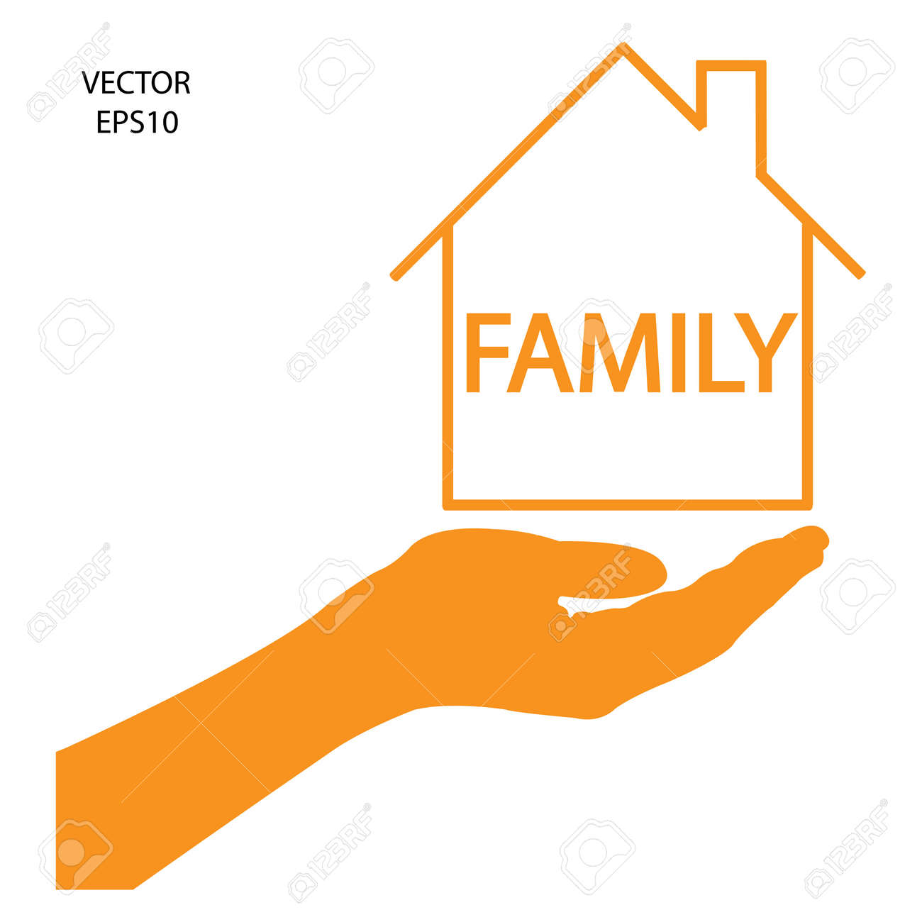 home under the hands icon,business symbol,concept of home decoration,concept of family Stock Vector - 18109592