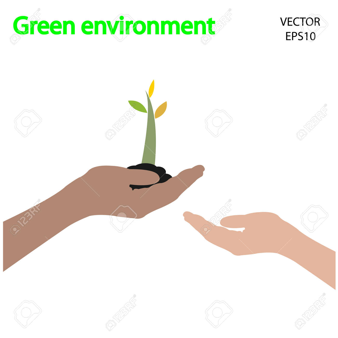 small tree and hands symbol,vector Stock Vector - 18096241