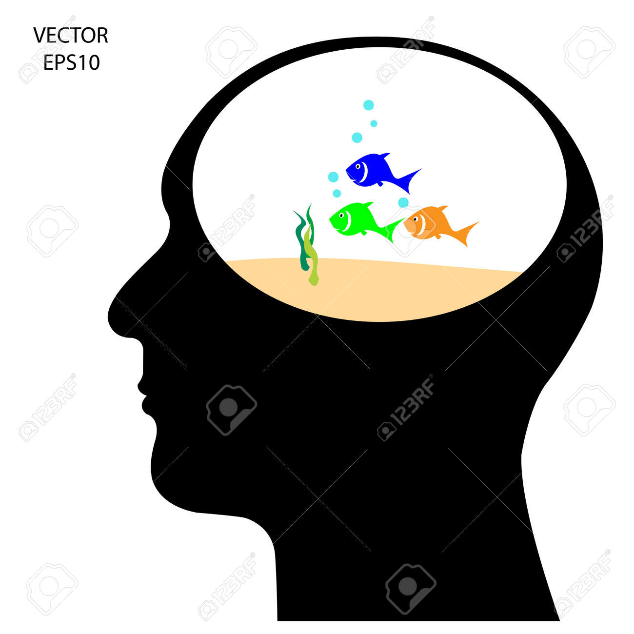 Silhouette of a head on white background,the concept of business icon,business symbol,vector Stock Vector - 18092560