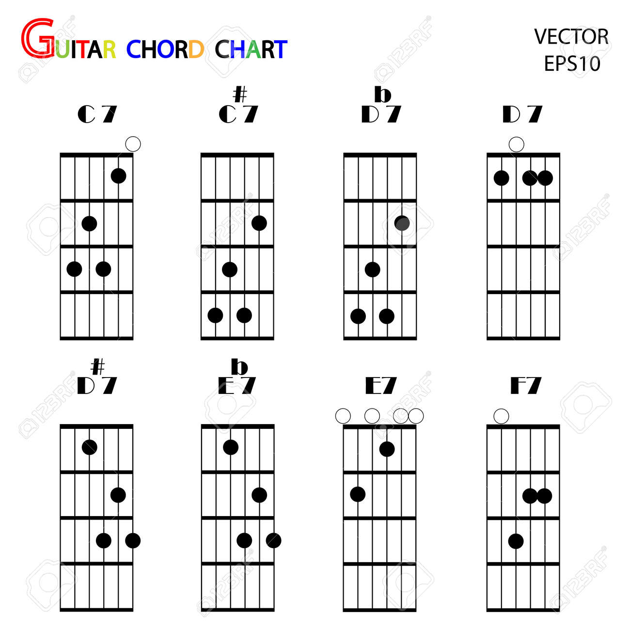 Basic guitar chords ,tab guitar chords,vector Stock Vector - 18165378