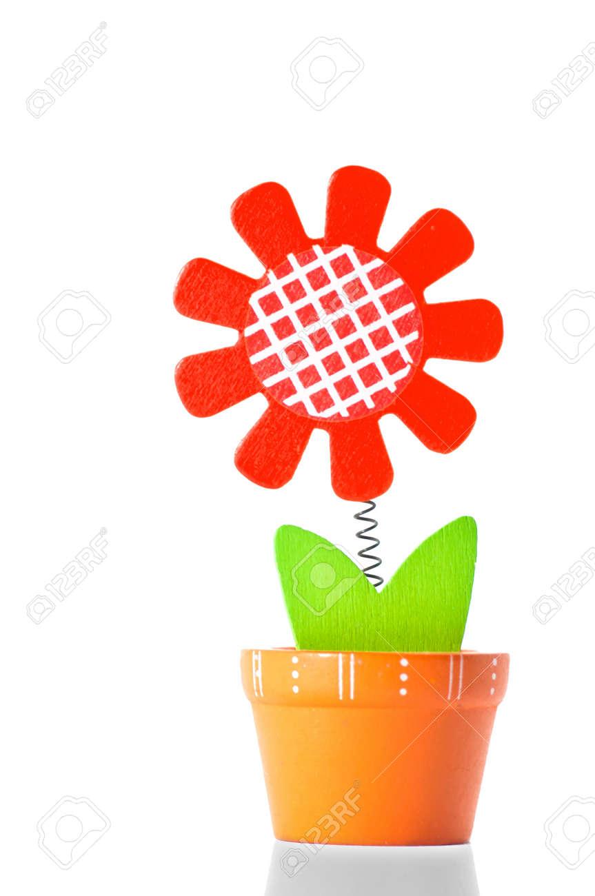 wooden flower on white background Stock Photo - 19175784