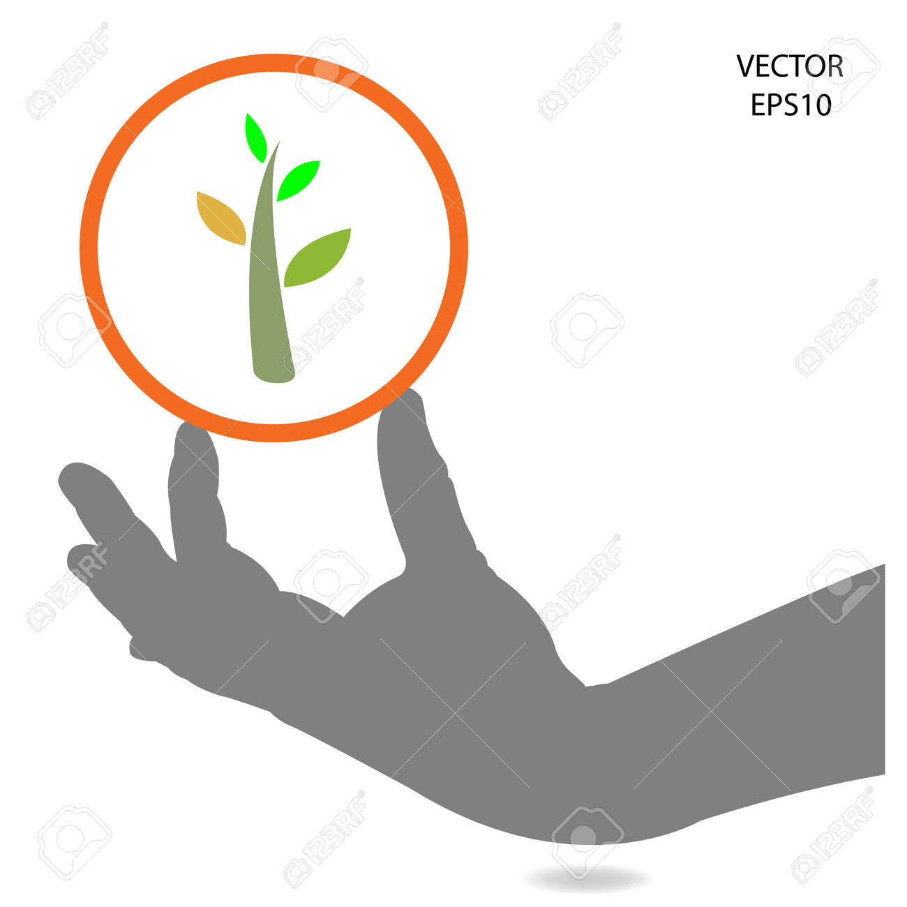 Hand And Green Plant Think Green Concept Save The Green World