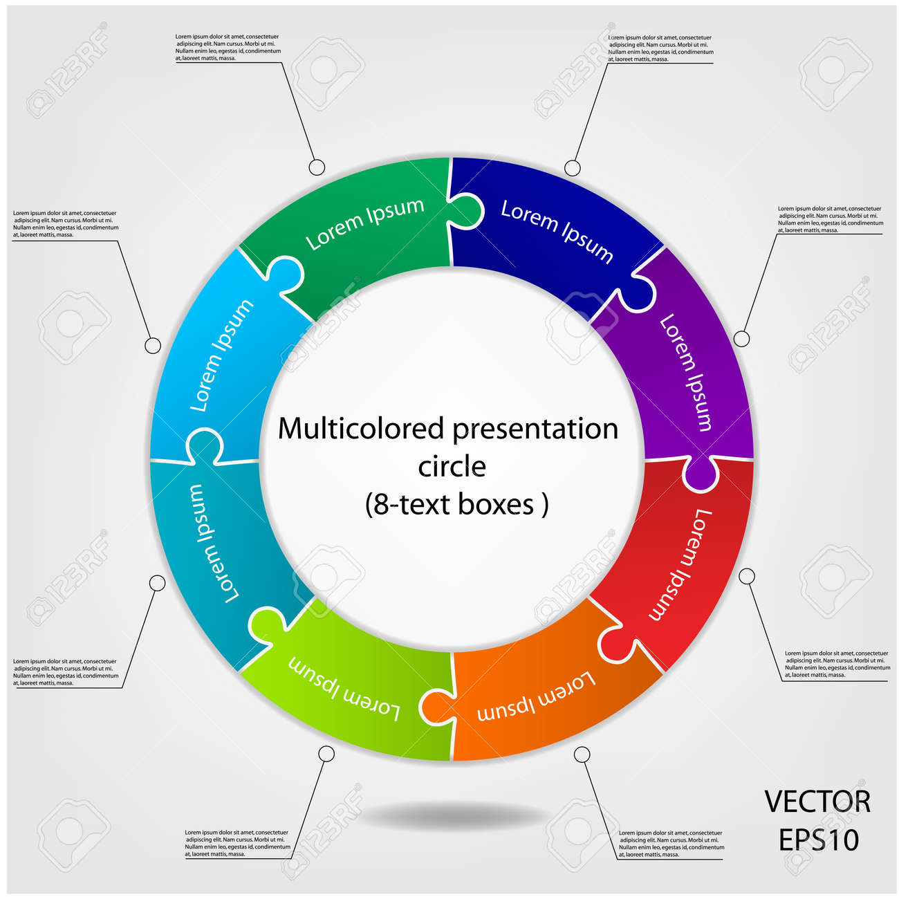 Concept of colorful puzzle on circular banners for different business design  Vector Stock Vector - 21281591