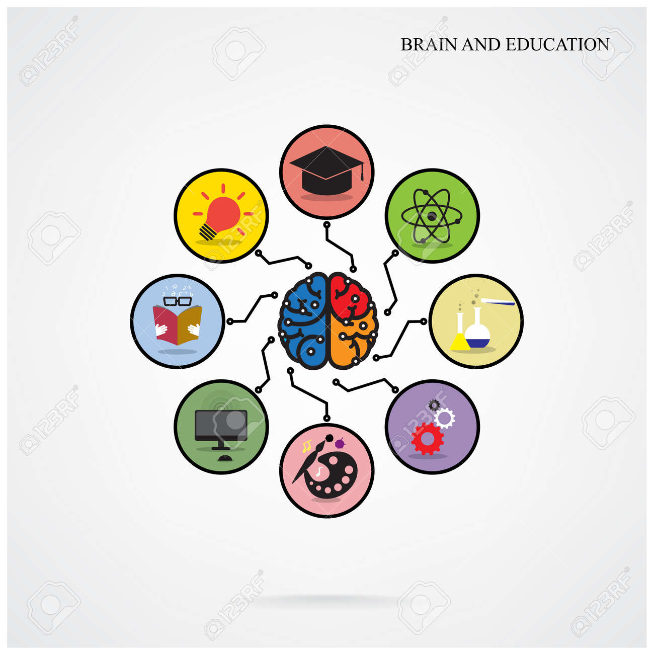 Infographic Template Creative Brain Education And Science Concept ... for Education Creative Poster Designs  110zmd