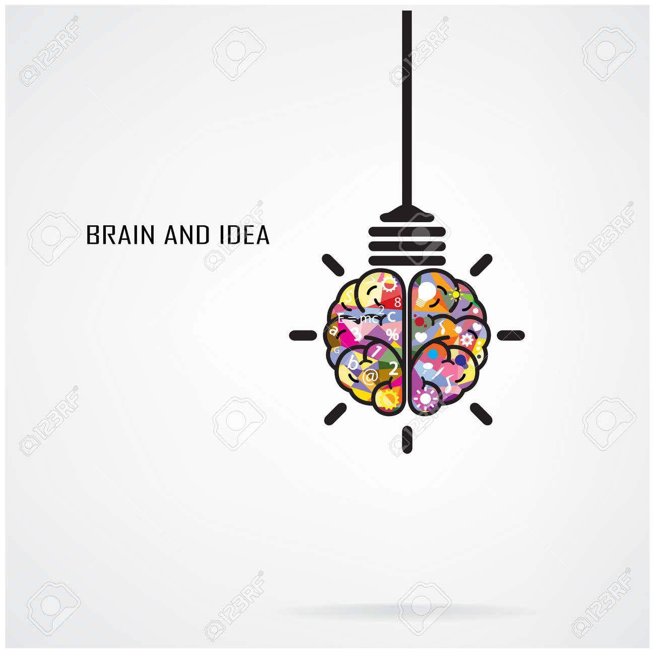 creative brain idea and light bulb concept design for poster