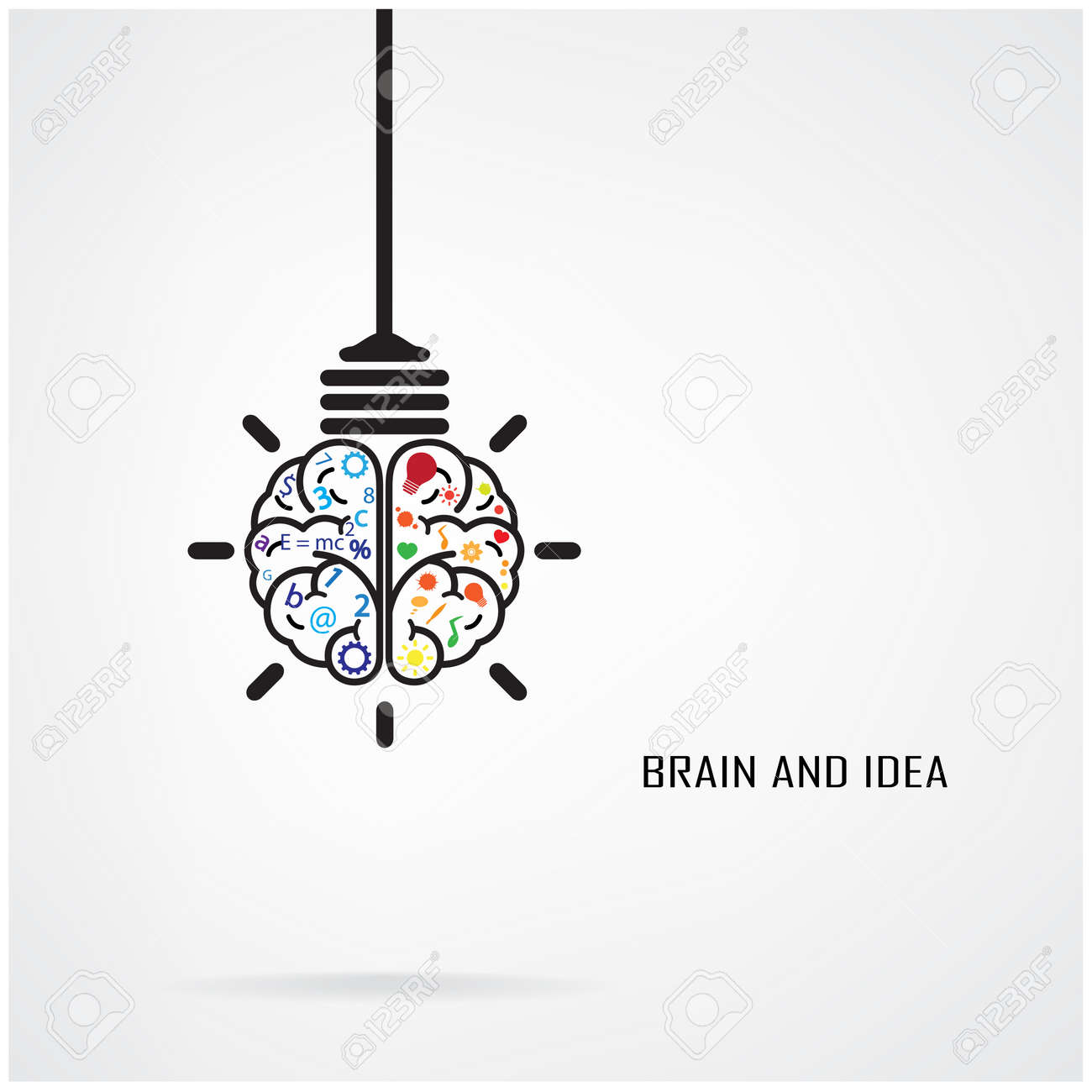creative brain idea and light bulb concept design for poster rh 123rf com open concept design ideas architectural design concept ideas pdf