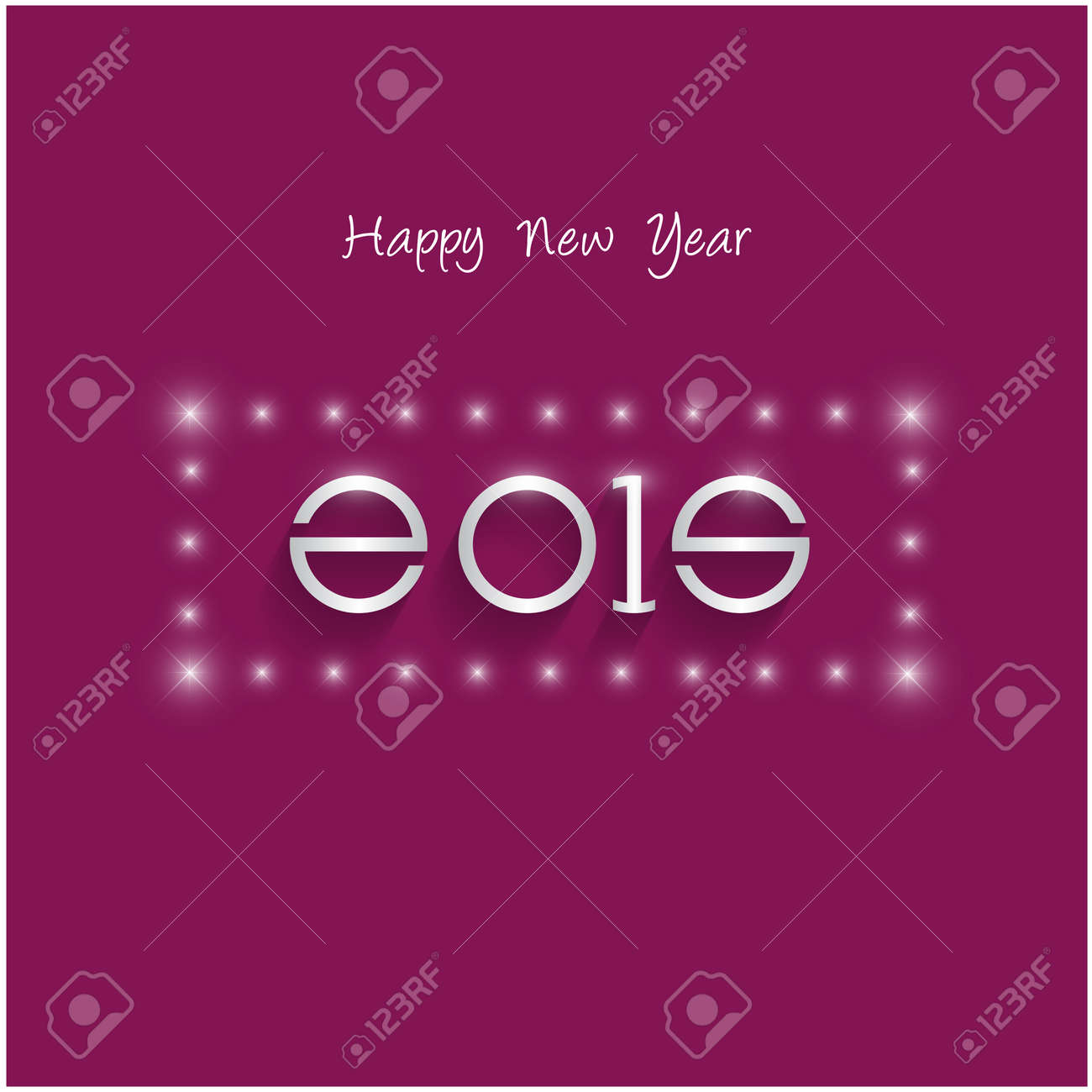 Happy New Year 2015 Creative Greeting Card Design In Flat Style