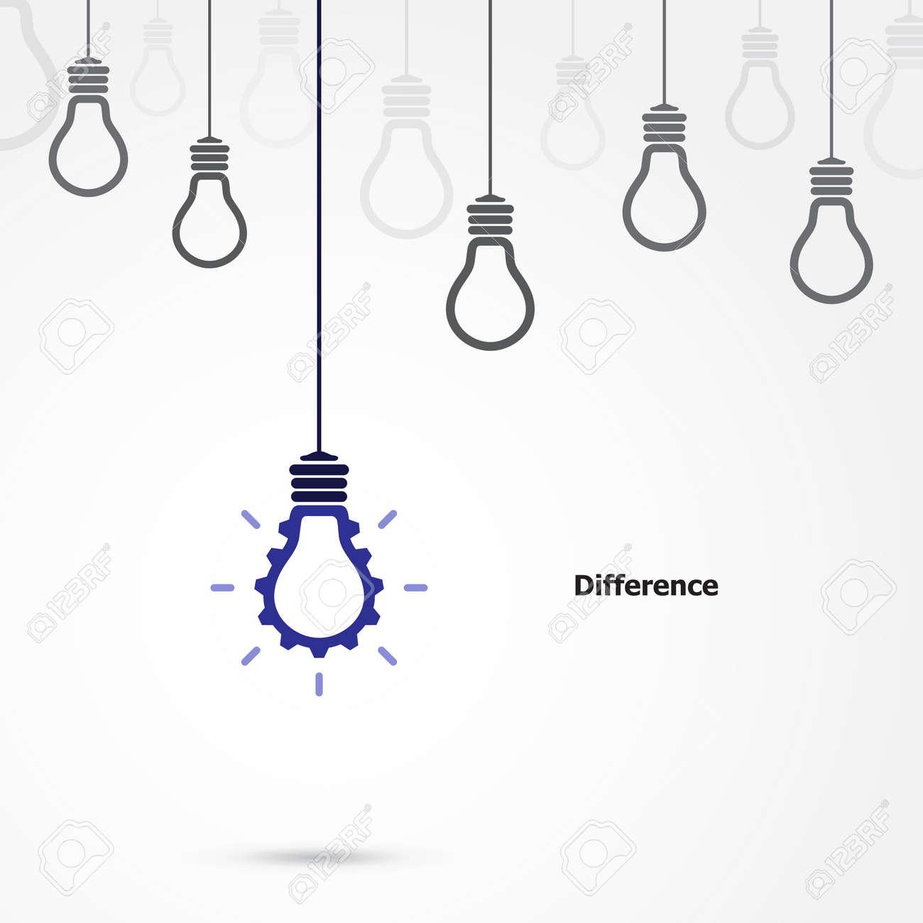Creative-Glühbirne Symbol Mit Dem Gang Zeichen Und Differenz-Konzept ...