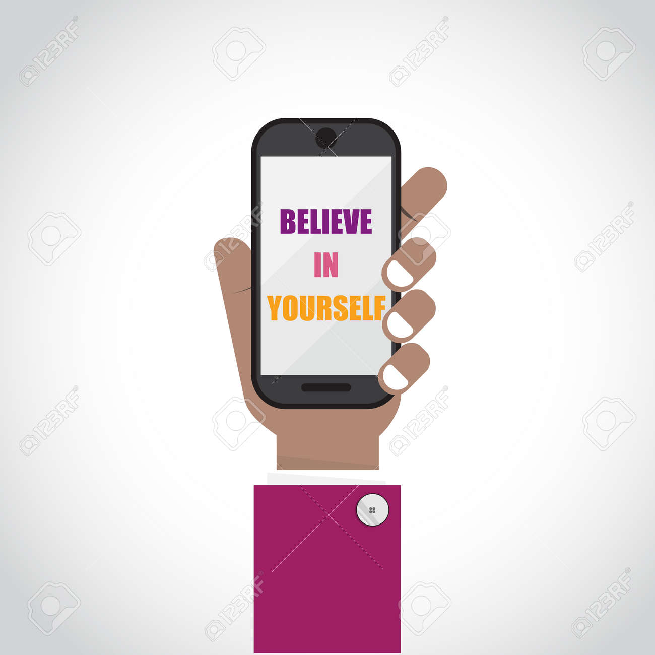 Businessman with smartphone symbol with believe in yourself businessman with smartphone symbol with biocorpaavc Choice Image