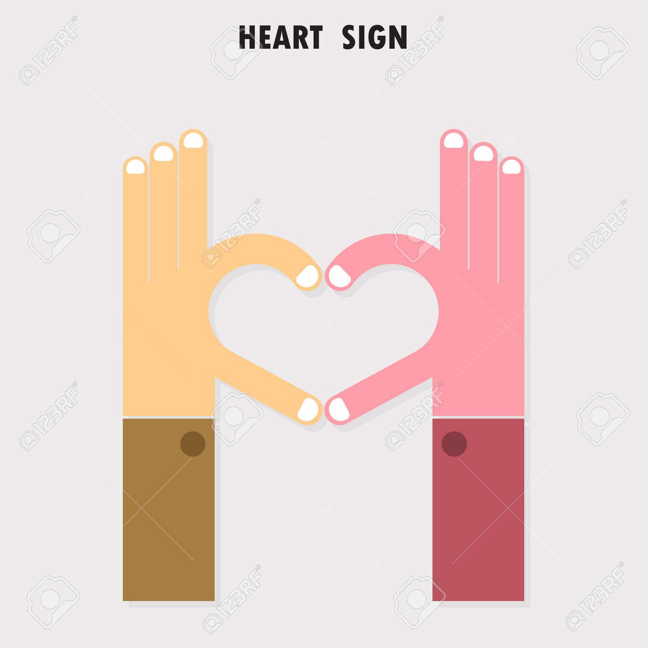 Creative Hand Sign And Heart Abstract Vector Logo Design Hand Heart