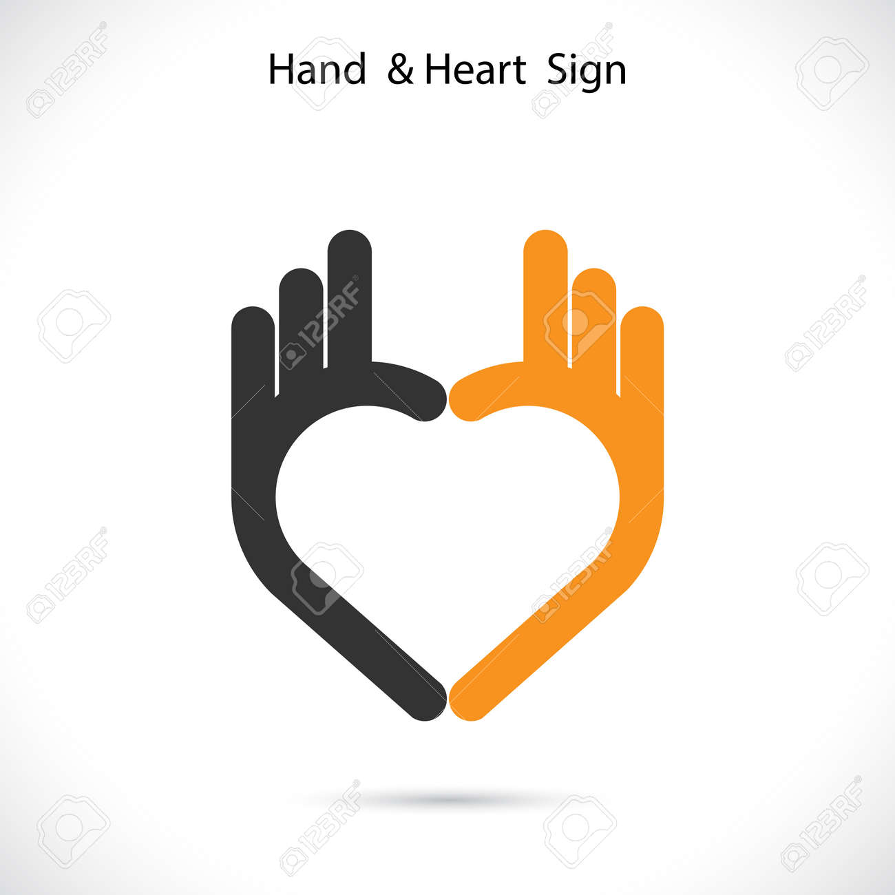 creative hand and heart shape abstract logo design hand ok symbol
