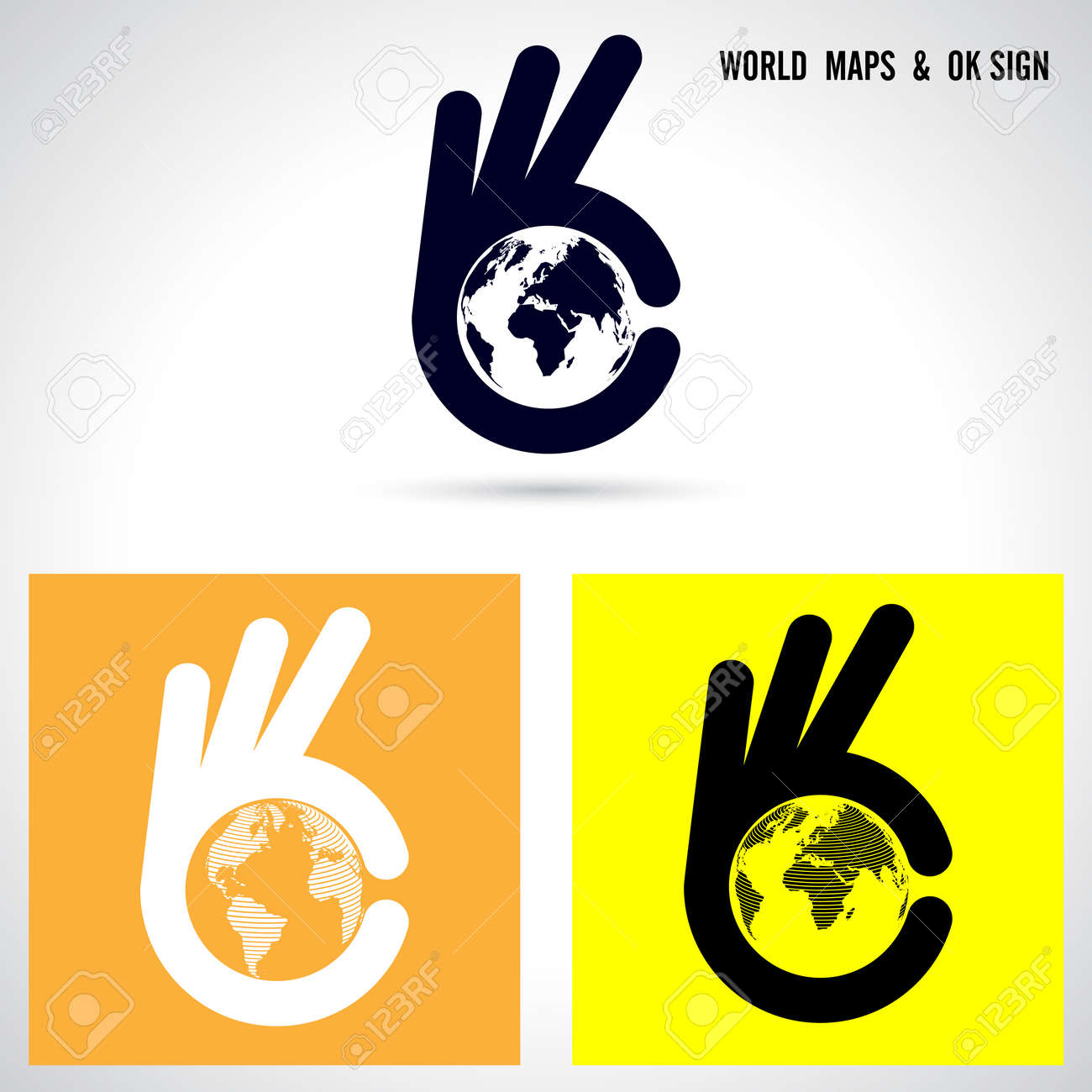 Creative hand and world map abstract logo designhand ok symbol creative hand and world map abstract logo designhand ok symbol iconrporate business gumiabroncs Gallery