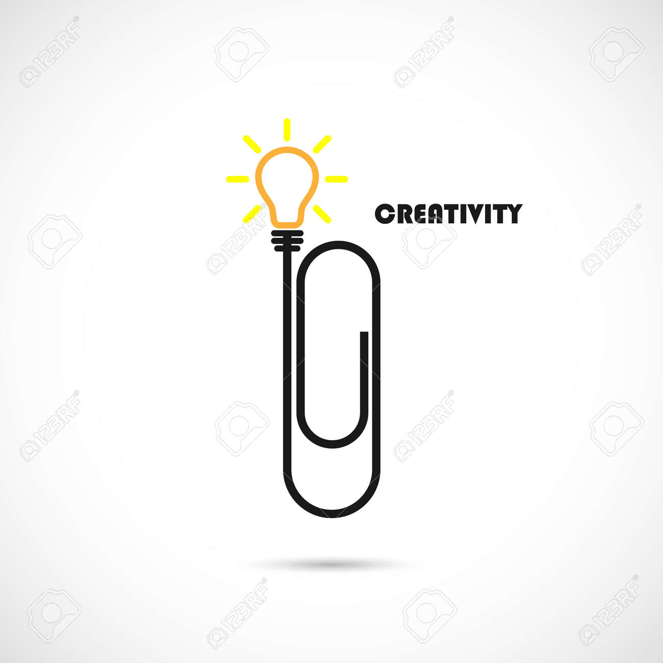 Creative Paper Clip And Light Bulb Logo Design.Concept Of Ideas ...