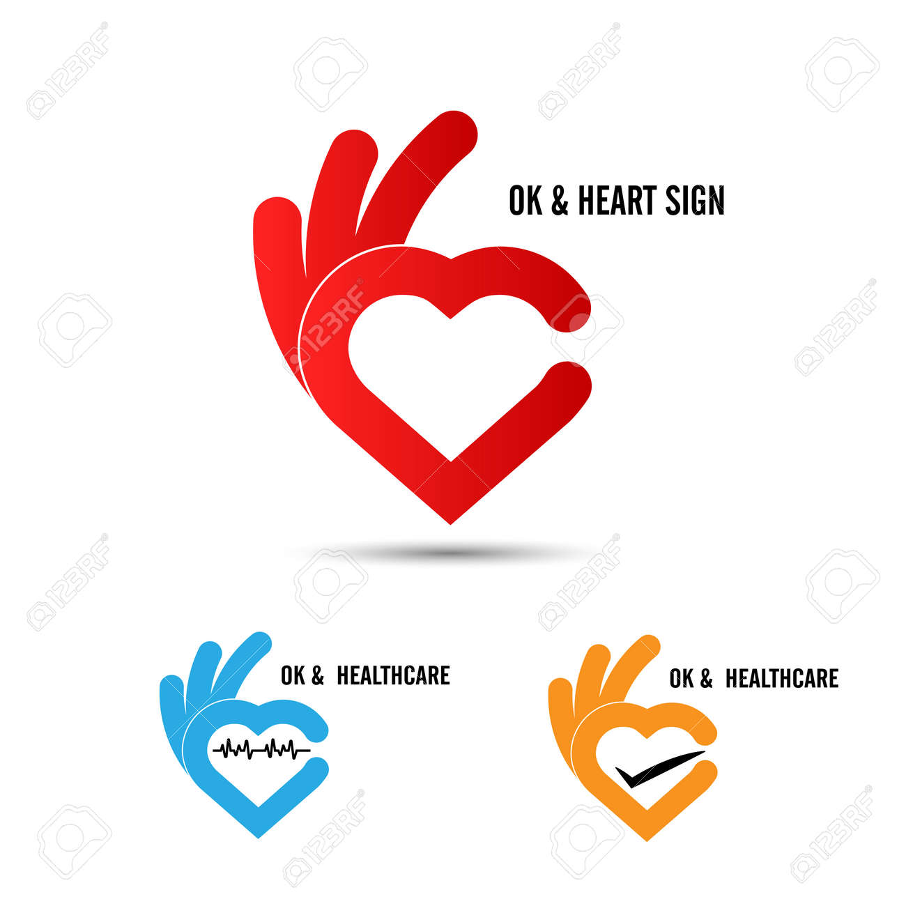 Creative Hand And Heart Shape Abstract Designhand Ok Symbol Icon