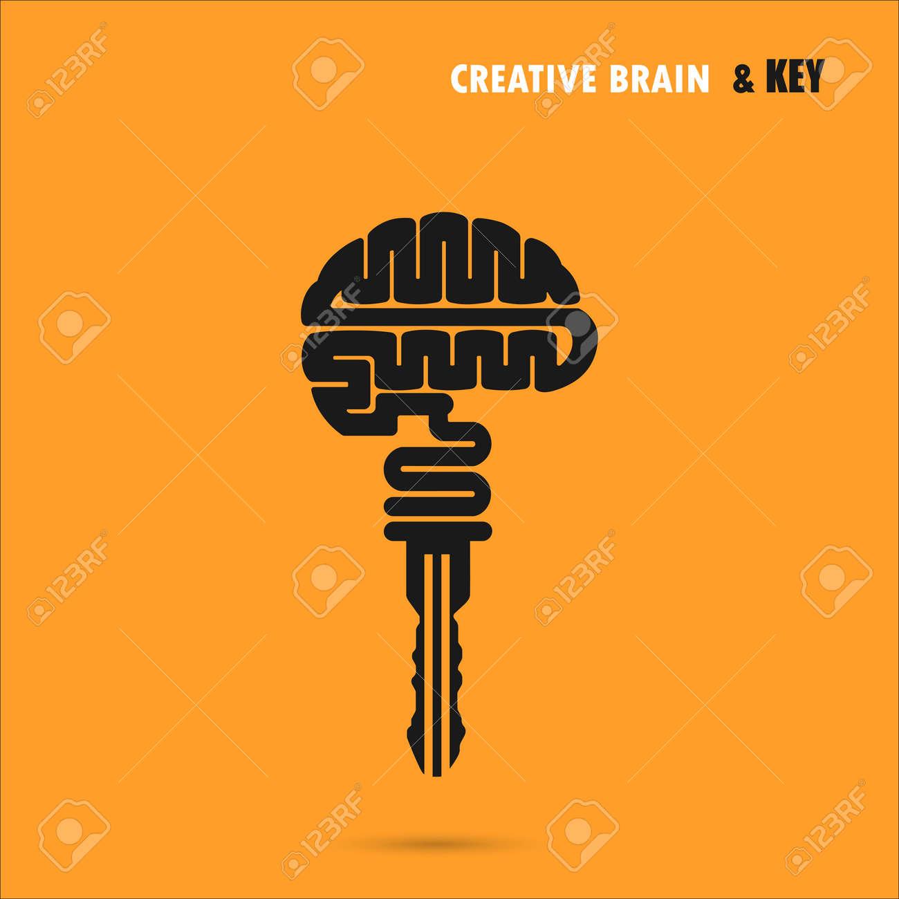 Creative Brain Sign With Key Symbol Key Of Successncept Of Ideas