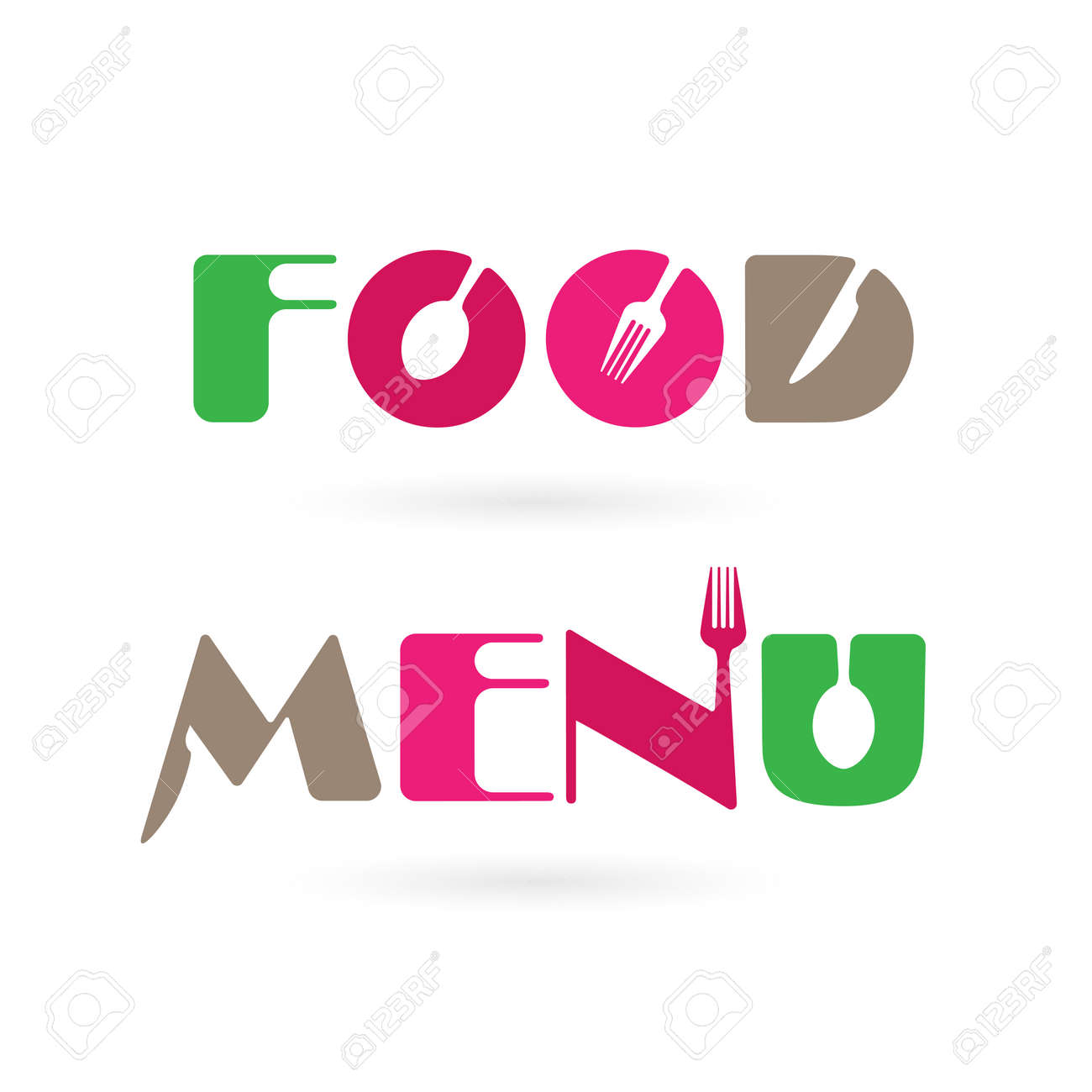Kreative Küche Meun Wort Logo Design-Elemente Mit Löffel, Messer Und ...
