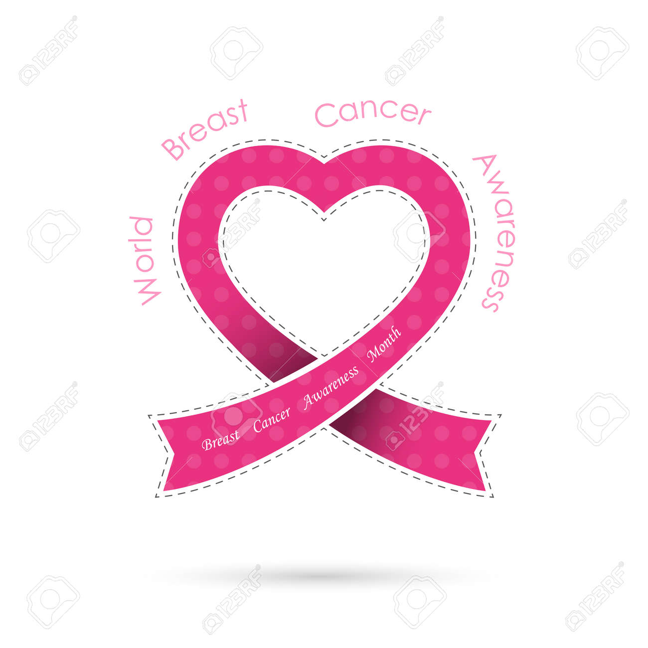 63f205337cd Pink heart ribon sign.Breast cancer awareness logo design.Breast..
