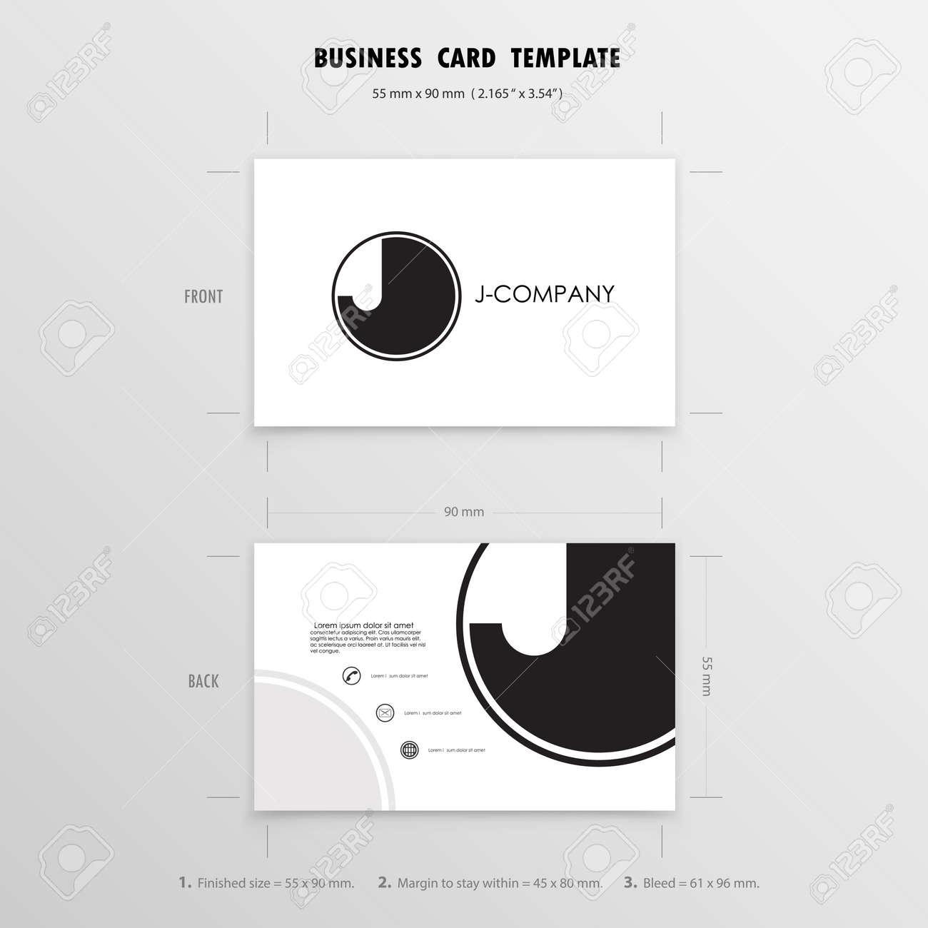Business Cards Design Template. Name Cards Symbol. Size 55 Mm ...