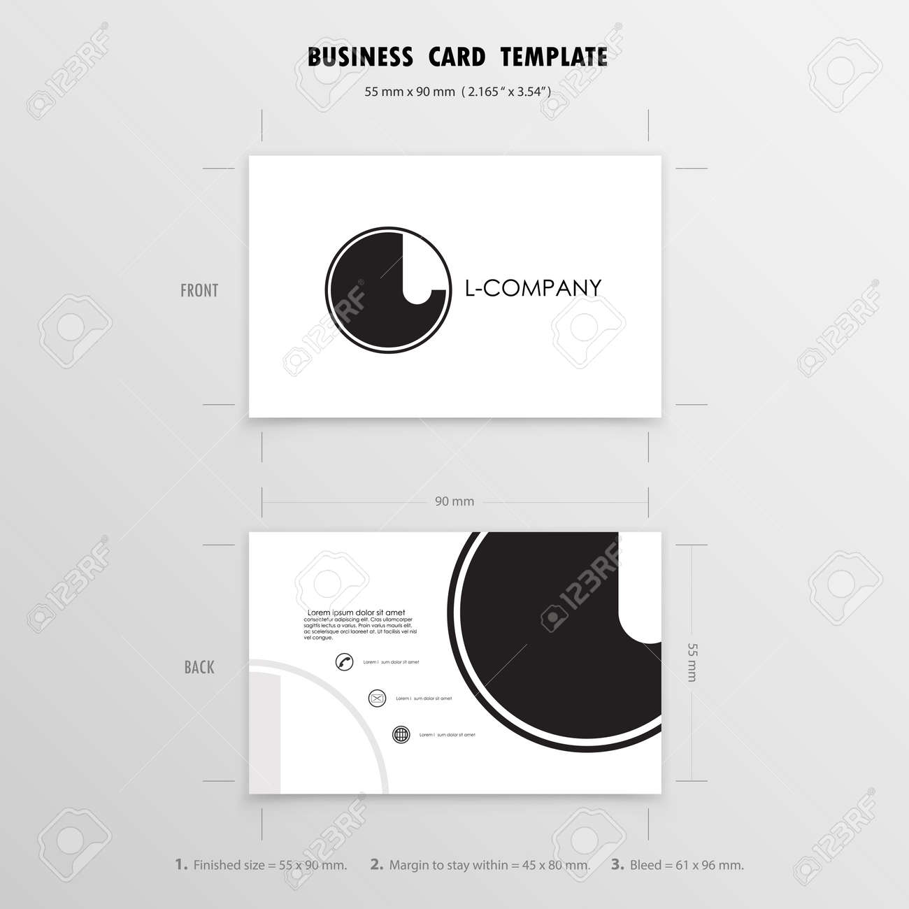 business cards design template name cards symbol size 55 mm