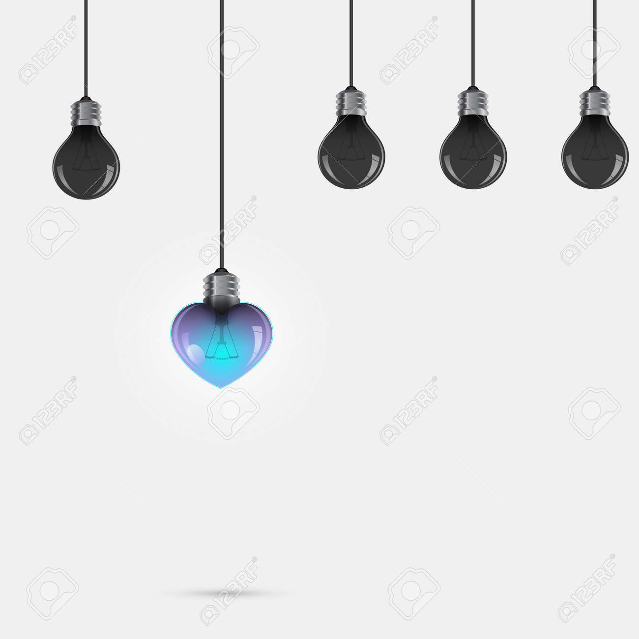 Creative Light Bulb Symbol With Heart Sign And Difference Concept