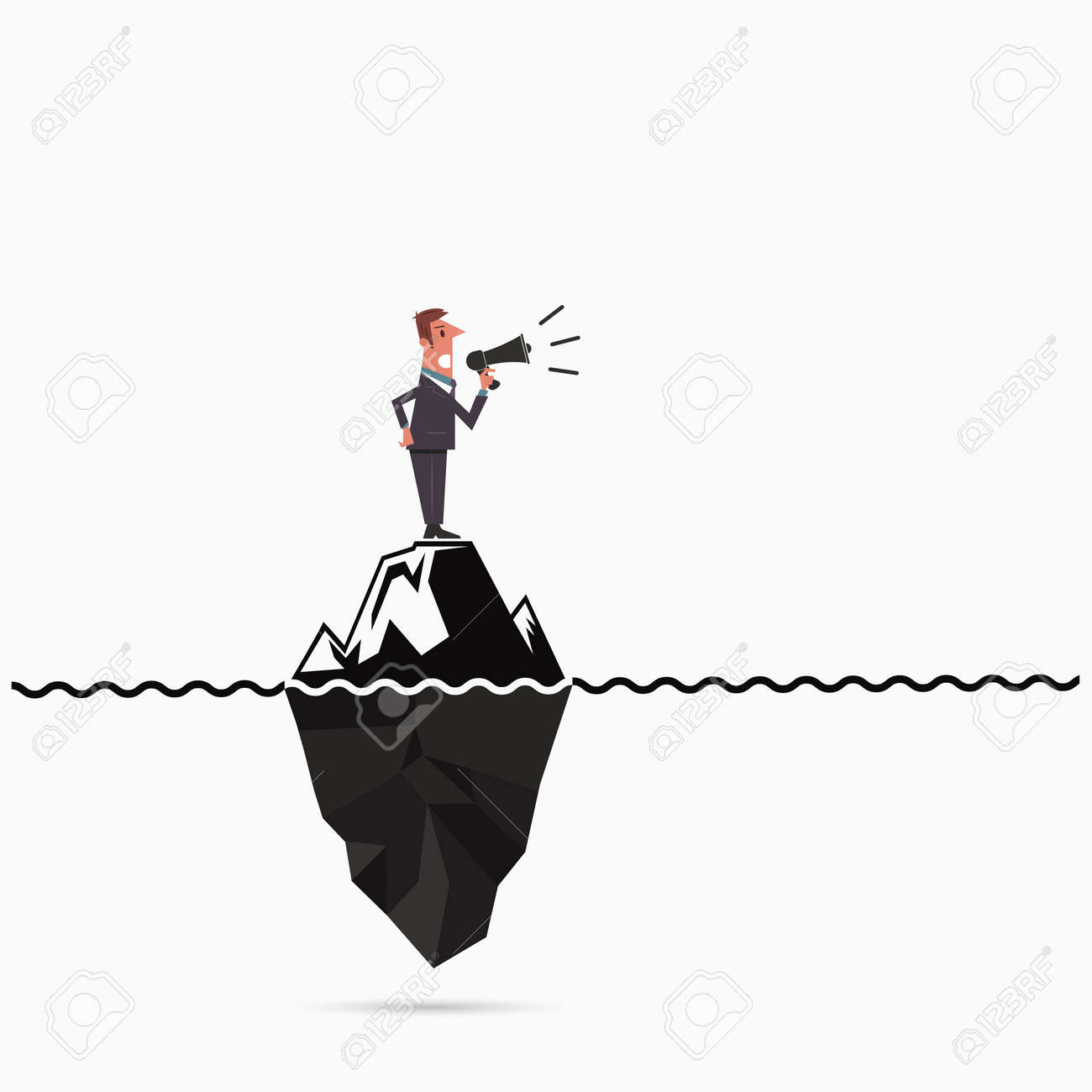 Businessman Announce The Risk Analysis Iceberg Template. Royalty ...