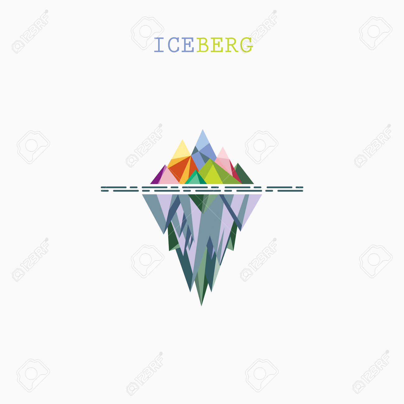 abstract triangle iceberg vector logo design infographic template