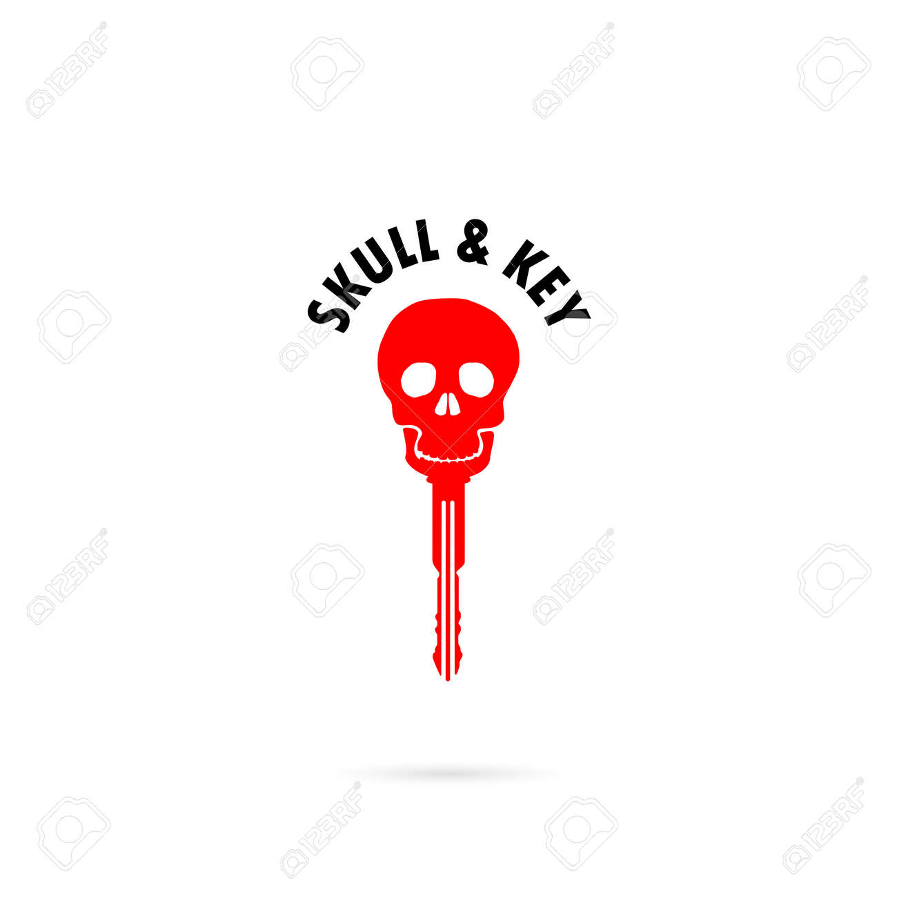 human skull silhouettes and key icon human skull and key tattoo logo