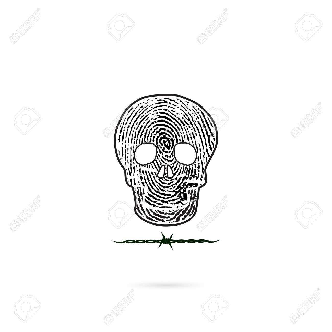 Siluetas Humanas Del Cráneo Con El Icono De La Huella Digital Y Del