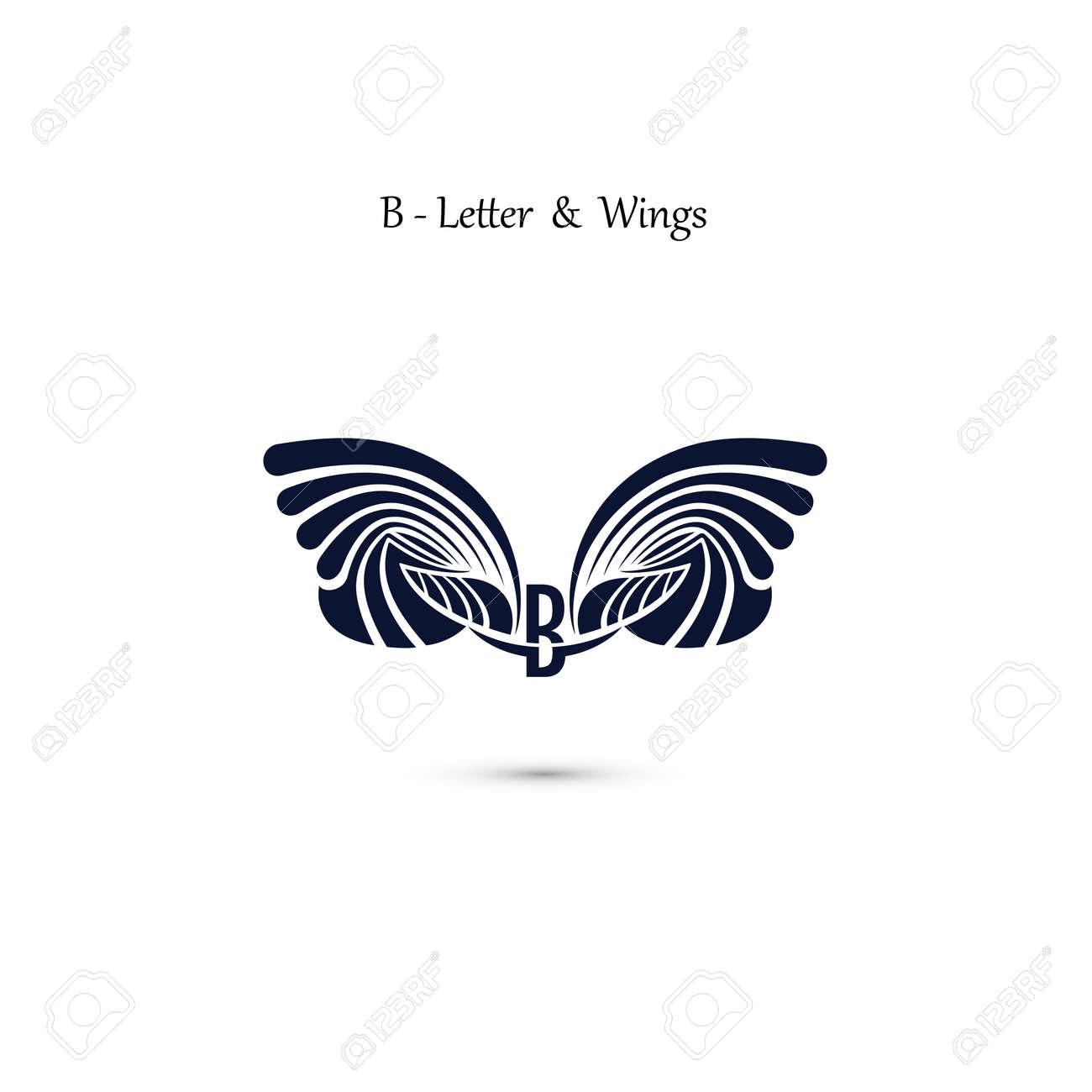 B Lettre Signe Et Ailes D Ange Modele De Logo Vecteur Aile Aile