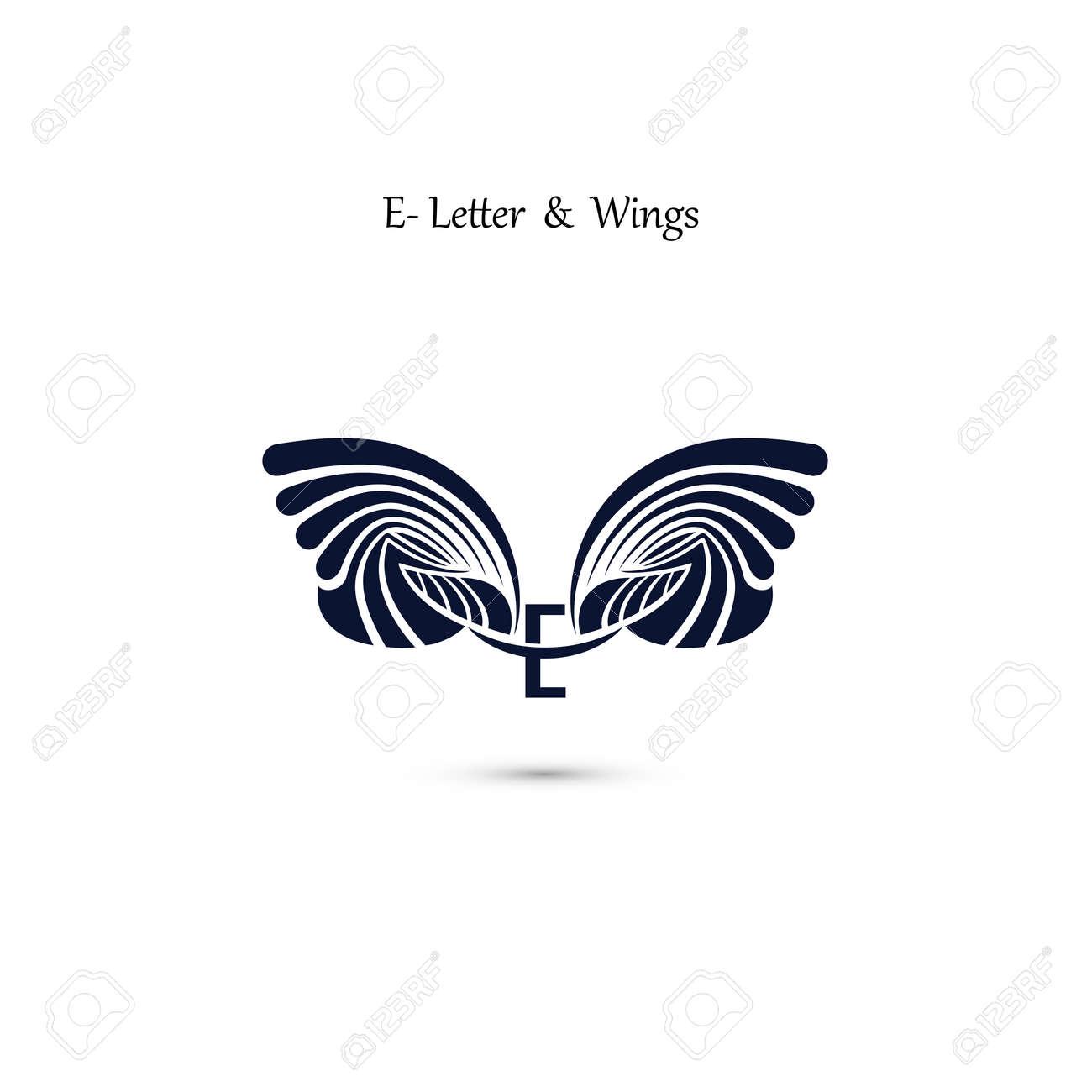 E-Buchstaben-Zeichen Und Engel Flügel.Monogramm Flügel Vektor-Logo ...