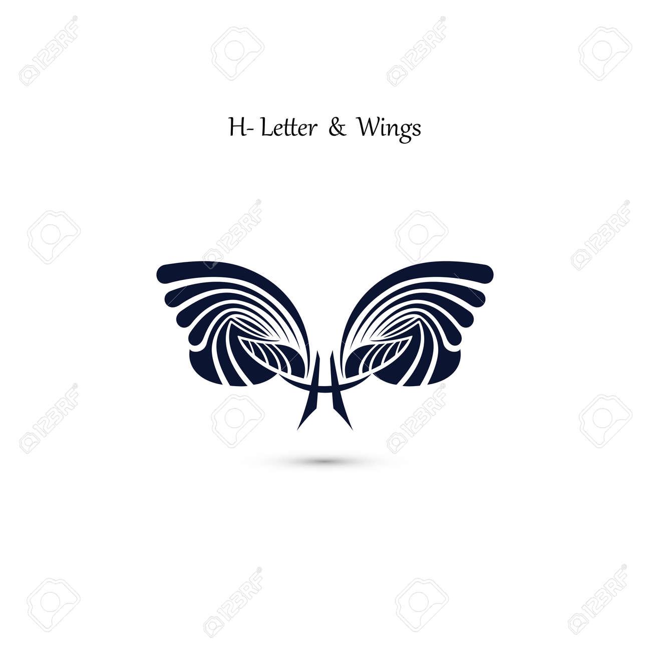 H-Zeichen Zeichen Und Engel Flügel. Monogramm Flügel Vektor Logo ...
