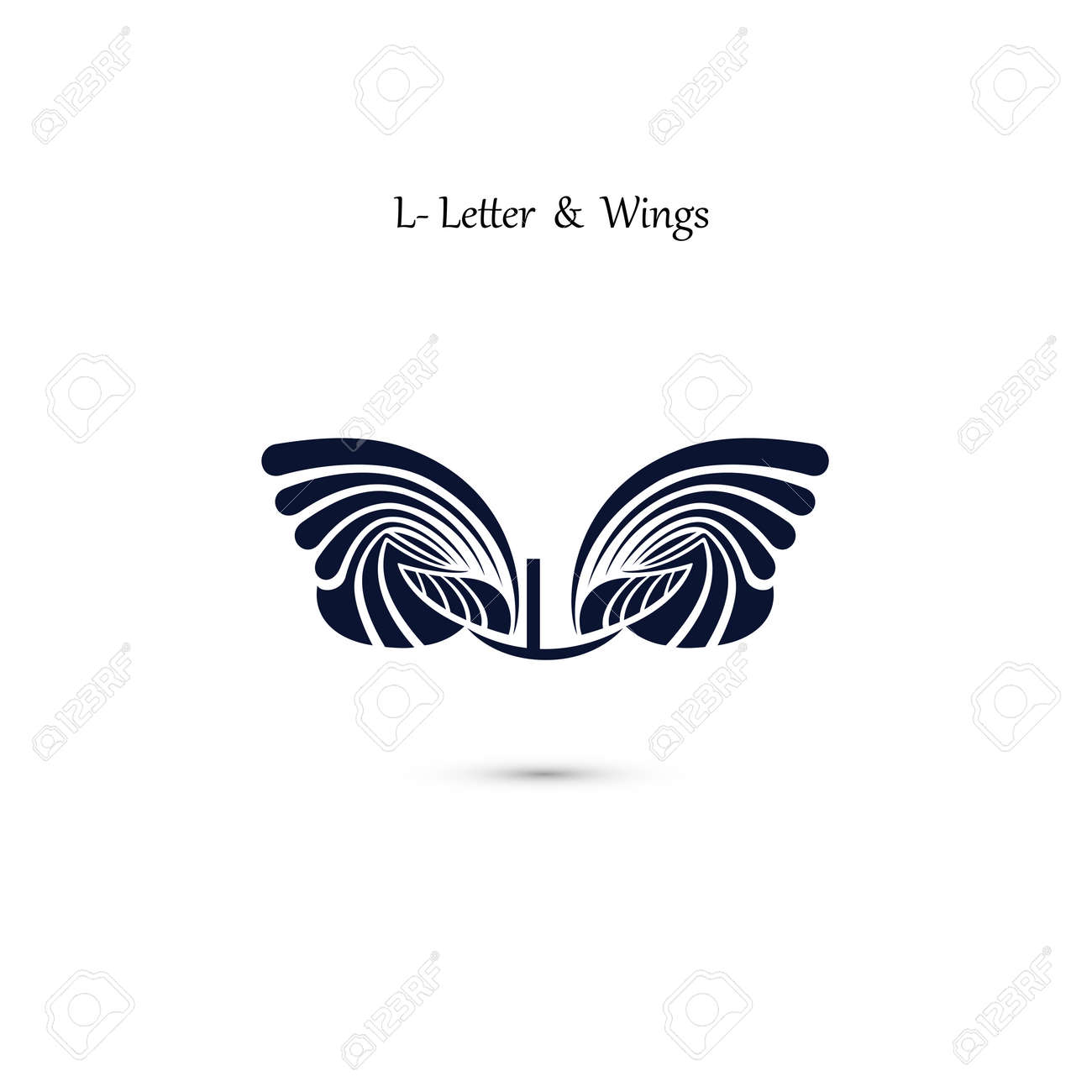 l letter sign and angel wings monogram wing vector logo template