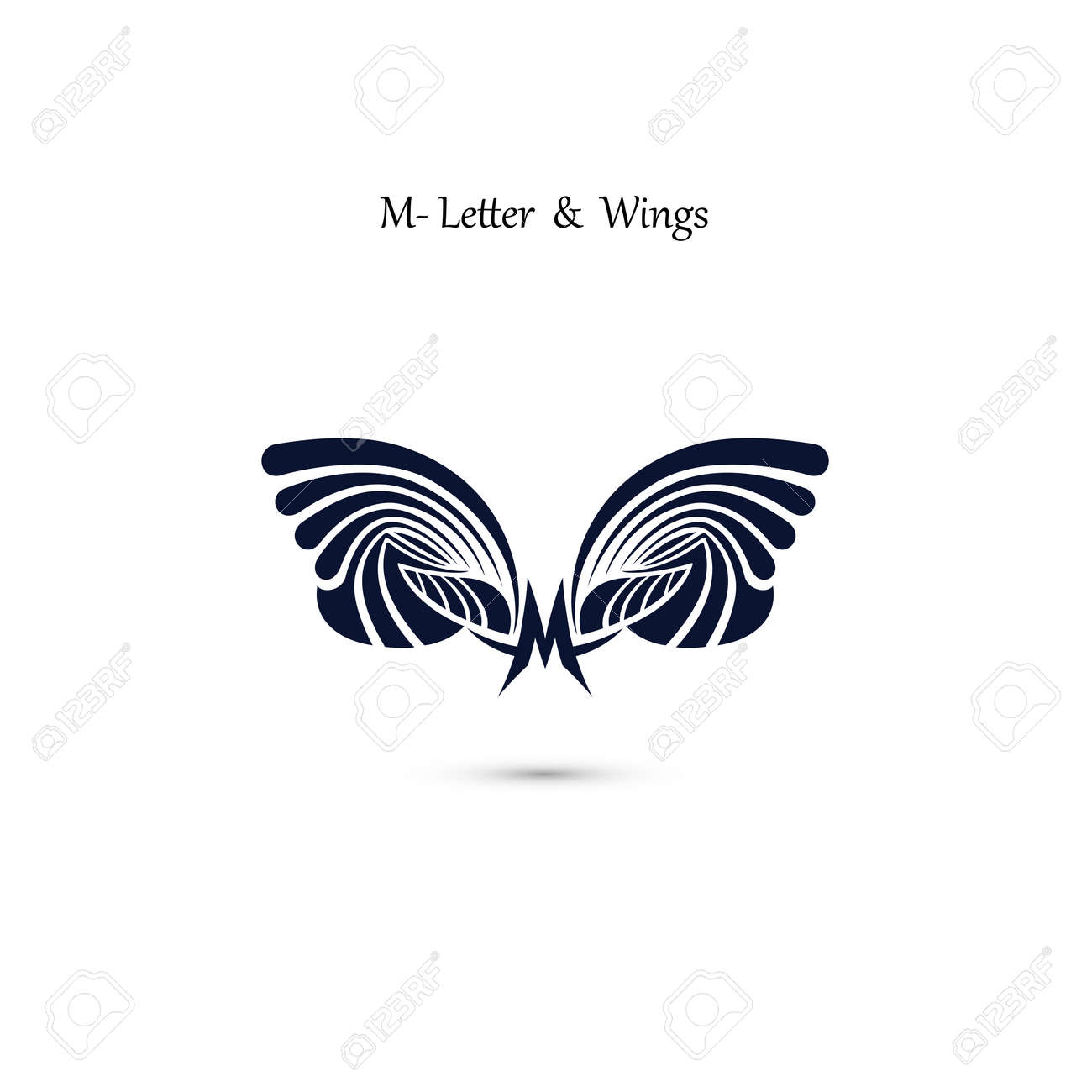 m letter sign and angel wings monogram wing vector logo template